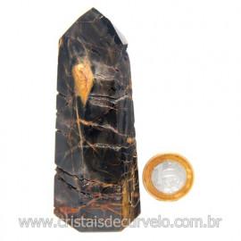 Ponta Onix Preto Pedra Natural Gerador Sextavado Cod 120148