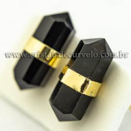 Brinco Micro Bi Ponta Pedra Obsidiana Negra Envolto Banho Dourado