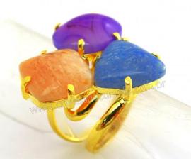 Anel 3 Pedras Misto Cabochao Aro Ajustavel Dourado cod AM5028
