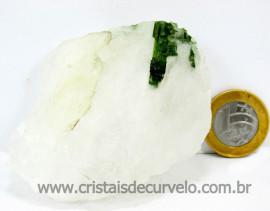 Turmalina Verde Canudo Extra Incrustado no Cristal Branco para Colecionar Cod 204.0