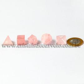 Kit Radionico Quartzo Rosa Solido de Platao Facetado 112935