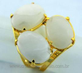 Anel 3 Pedras Quartzo Leitoso Cabochao Aro Ajustavel Banho Dourado