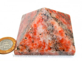 Piramide Pedra Calcita Laranja Medida Base Queops Cod PL8011