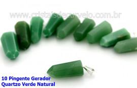10 Pingente Pontinha Atacado Pedra Quartzo Verde Presilha e Pino Prateado