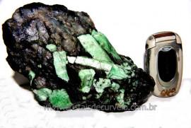 Esmeralda Canudo Incrustado Xisto Pedra Natural Cod CE8476