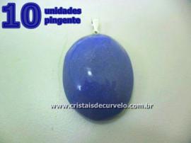 10 Pingente Cabochão QUARTZO AZUL Pedra Natural Castoação Pino Banho Prata