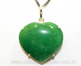 Pingente Coração Quartzo Verde Prata 950 Garra REFF CP2059