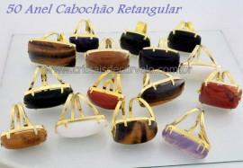 50 Anel Retangular Cabochao Pedra Natural Misto Flash Dourado Aro Ajustavel ATACADO