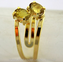 Anel 2 Pedras Green Gold Gemas Facetado Aro Dourado Ajustavel Cod 29.1