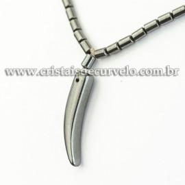 Colar Dente de Leão Hematita Natural Rolada 40cm REFF 120623