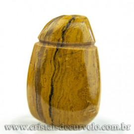 Pingente Pedra Rolada Jaspe Amarelo Difusor Aromaterapia Ranhurado