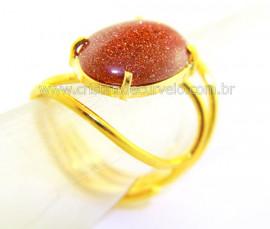 Anel Pedra do Sol Cabochão Oval Pequeno Dourado REFF CP8268