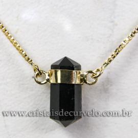 Colar Pedra Obsidiana Negra Bi Ponta Natural Envolto Dourado