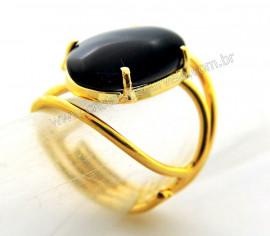 Anel Obsidiana Negra Cabochão Oval Pequeno Dourado REFF CP5594
