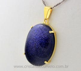 Pingente Extra Cabochao Pedra Estrela Azul Montagem Garra Dourado