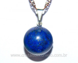 Pingente Bolinha Pedra Lapis Lazuli Pino Prateado Reff PB6667
