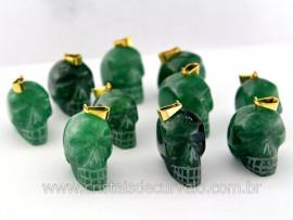 Pingente Caveira ou Cranio de Pedra Quartzo Verde Natural Montagem Dourada