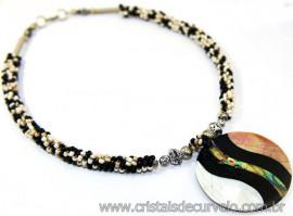 Maxi Colar Pingente Mandala de Abalone e Madrepérola Cod 110761