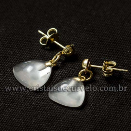 Brinco Trillion Pedra Cristal Natural Montagem Dourada Presilha