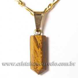 Pingente Micro Pontinha Pedra Jaspe Amarelo Natural Pino Dourado