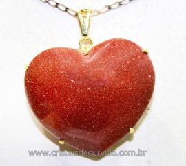Pingente Gigante Coração Pedra do Sol na Garra Dourado Reff PG9346