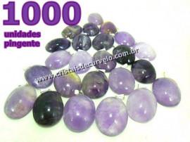1000 Pingente Cabochão AMETISTA Pedra Natural Pino Banho Prata