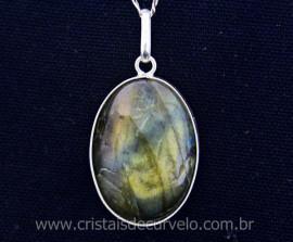 Pingente Pedra Labradorita Cabochao Oval Envolto Prata 950 Pedra Natural REF 17.5