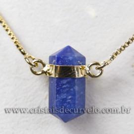 Colar Pedra Quartzo Azul Micro Bi Ponta Natural Envolto Dourado