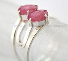 Anel 2 Pedras Turmalina Rosa Gemas Facetado Prata 950 Aro Ajustavel Reff 17.4