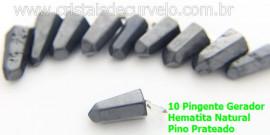 10 Pingente Pontinha Atacado Pedra Hematita Presilha e Pino Prateado