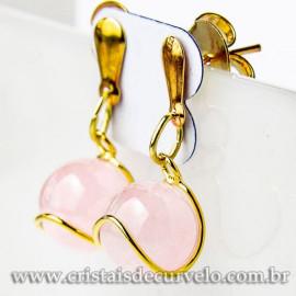 Brinco Bolinha Na Cesta Pedra Quartzo Rosa Pino Dourado 112808