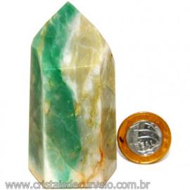 Ponta Jade Verde Lapidado Pedra Natural de Garimpo Cod 109843