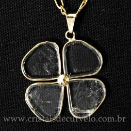 Pingente Trevinho Cristal Natural Montagem Banho Dourado