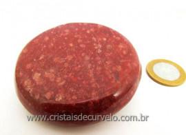 Massageador Disco Cristal Quartzo Vermelho Massagem Terapeutica Com Pedras Cod 188.2