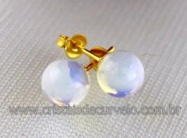 Brinco Bolinha Pedra da Lua Opalina Tarracha Banho Ouro Flasch Dourado