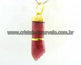 Figa Pingente Mineral Quartzo Goiaba Banho Ouro Flash Amuleto da Sorte