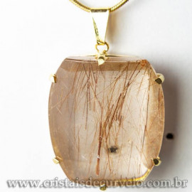 Pingente Pedra Cristal Rutilo Baguette Garra Dourada 112954