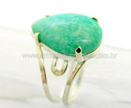 Anel Gota Amazonita Verde Prata 950 Aro Ajustavel REF AP3969