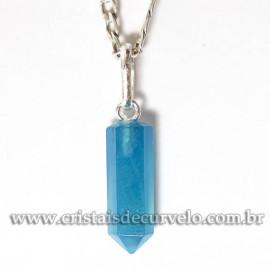 Pingente Micro Pontinha Agata Azul Montagem Prata 950
