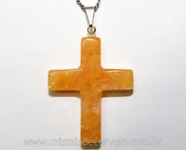 Crucifixo Pedra Citrino Bombardeado Pingente Cruz Pedra Natural Pino e Presilha Banho Flash Prata