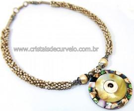 Maxi Colar Pingente Mandala de Abalone e Madrepérola Cod 110760