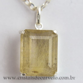 Pingente Gema Rutilo Ouro Facetado Montagem Prata 950 112429