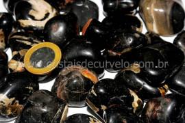 Pedra Rolado ONIX PRETO Tamanho Grande Pacote 1kg Pedra de Garimpo
