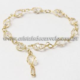 5 Pulseira Pedra Cristal Na Gaiola Banho Dourado ATACADO