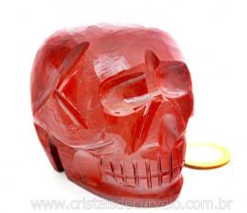 Crânio Pedra Dolomita Vermelha Esculpido Manualmente skull Stone Cod CV618.7