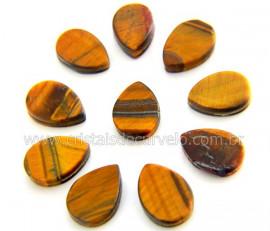 10 Gota Pedra Olho de Tigre Ranhurado Pra Montagem REFF GR7921