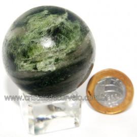 Esfera Epidoto Verde Incrustado no Quartzo Natural Cod 113568
