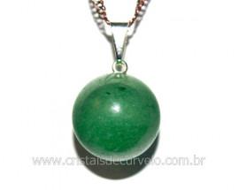 Pingente Bolinha Pedra Quartzo Verde Pino Prateado