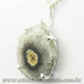 Pingente Flor de Ametista Pedra Natural Garra Prateado 120621