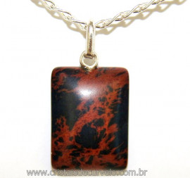 Pingente Retângulo Obsidiana Mahogany Prata 950 Reff 106417